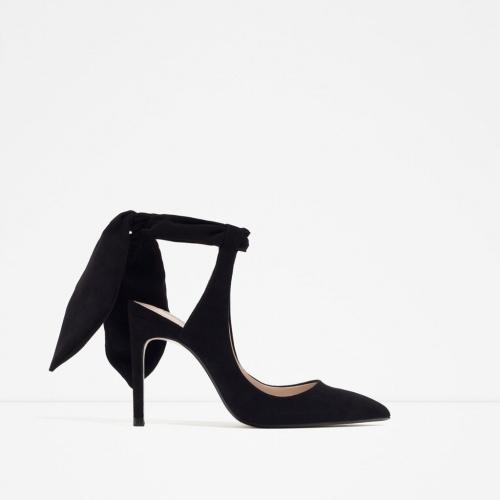 Zara escarpins velours noir noeud cheville