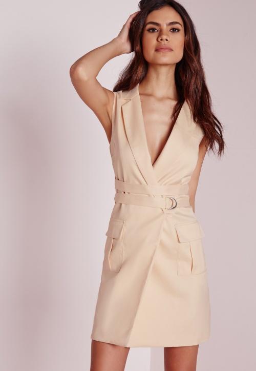 Miss Guided robe blazer beige double ceinture