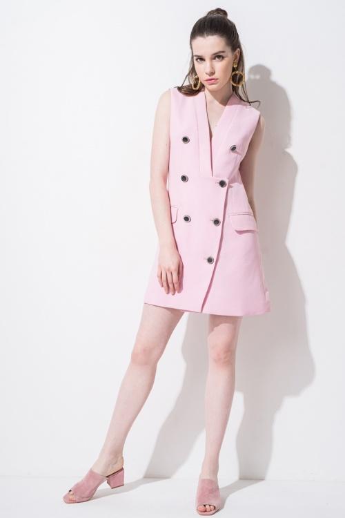 Front Row Shop robe blazer rose bonbon asymetrique