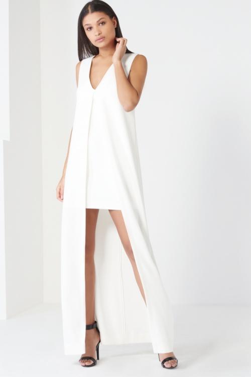 robe blanche cape longue