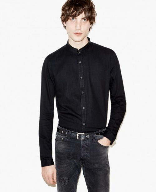 The Kooples - Chemise noire col mao