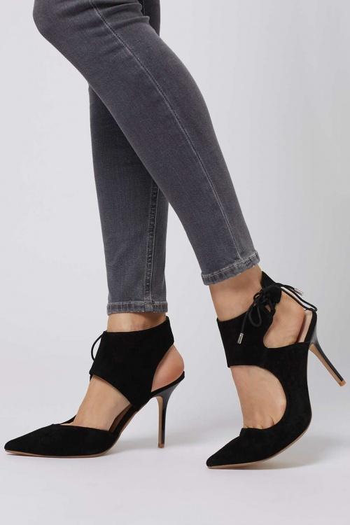 Topshop - Escarpins sandales noires ajouré talons