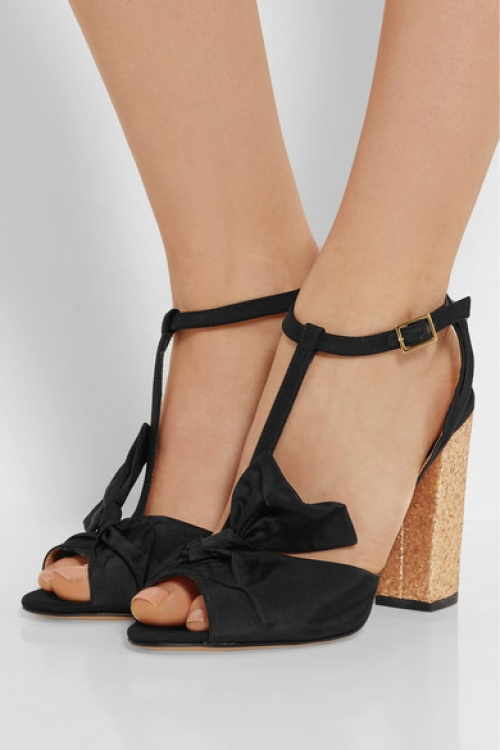 Charlotte Olympia - Sandales noeuds talons paillettes