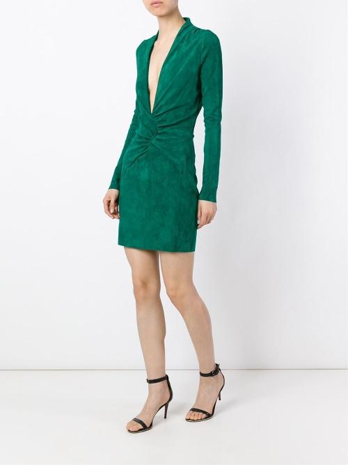 Jitrois robe verte plissée décolleté pronfond