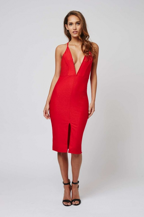 Topshop robe fourreau rouge fendue décolleté plongeant