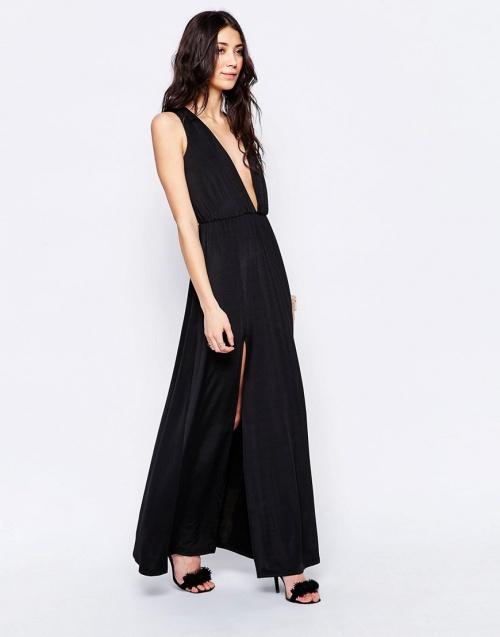 Glamorous maxi dress fendue noire décolleté profond