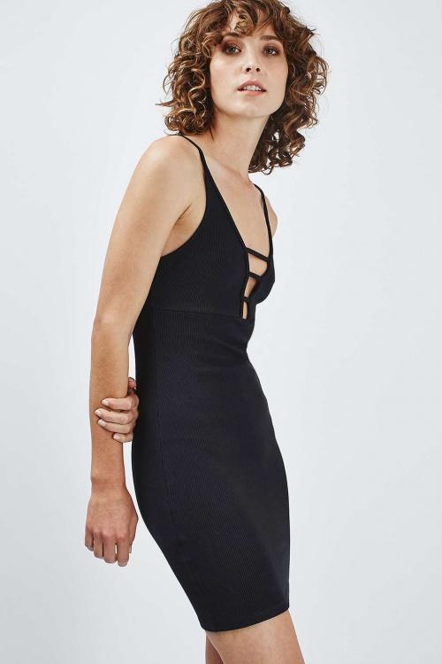 Topshop robe cotelée courte décolleté plongeant