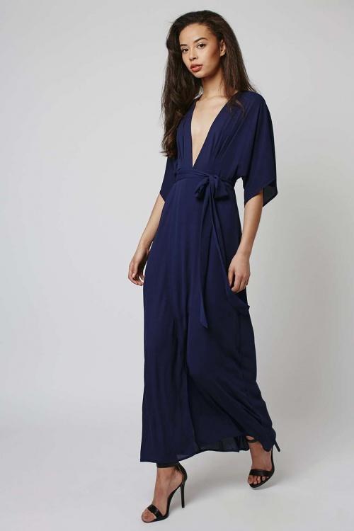 Topshop robe longue fluide décolleté plongeant bleu nuit