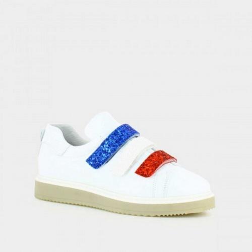 Jonak - Baskets blanche bleu rouge