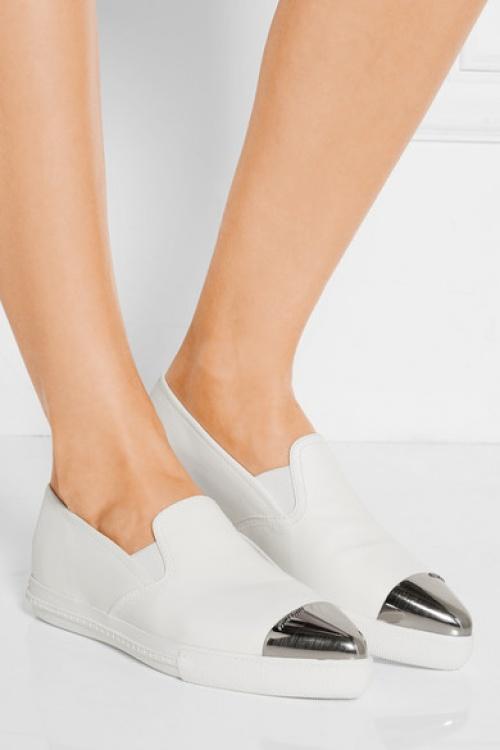 Miu Miu - Baskets blanche argent