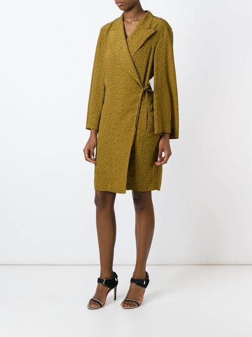 Jean Paul Gaultier Vintage robe portefeuille jaune motif
