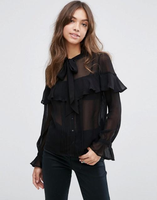 Asos top chemise transparente noire à volants