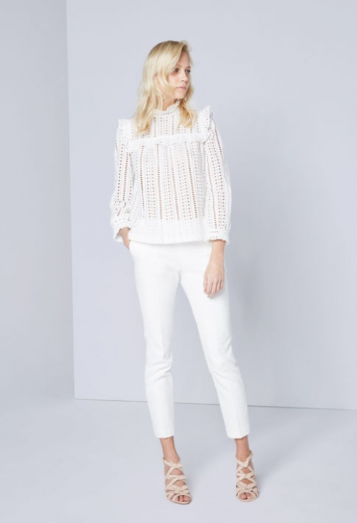 Claudie Pierlot top blanc dentelle crochet