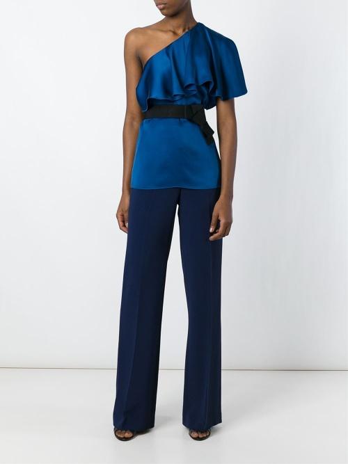 Lanvin top asymétrique bleu