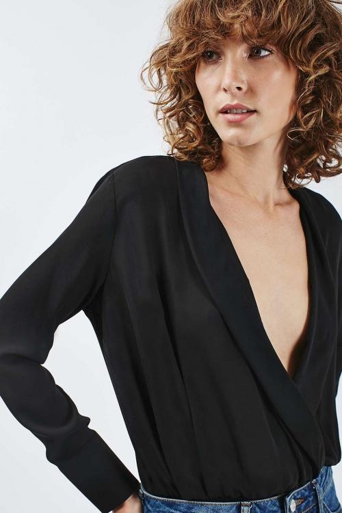 Topshop body drapé noir