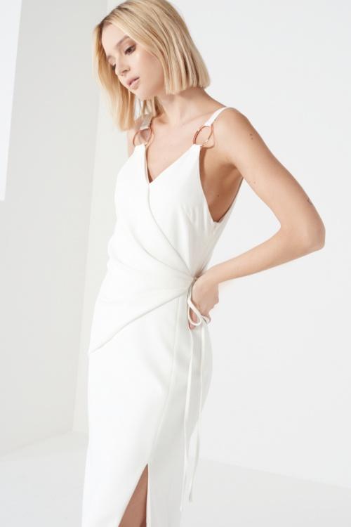 Lavish Alice robe portefeuille blanche