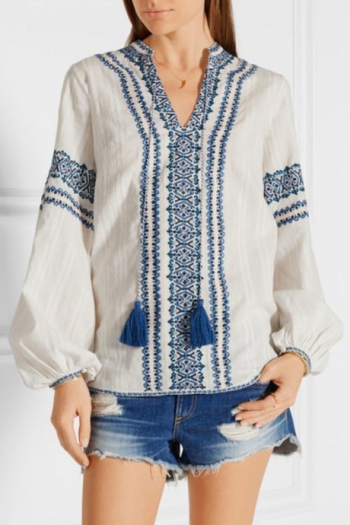 Talitha blouse ethnique brodée bleue et blanche