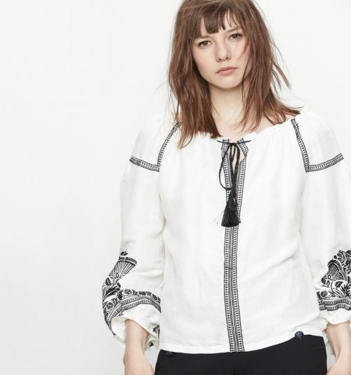 Maje blouse brodée blanche et noire