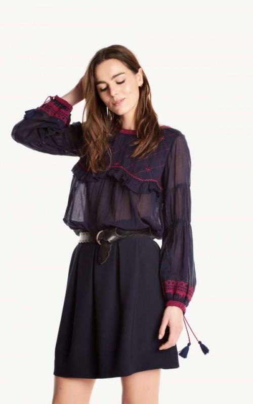 Ba&sh blouse transparente brodée