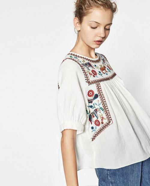 Zara blouse brodée col