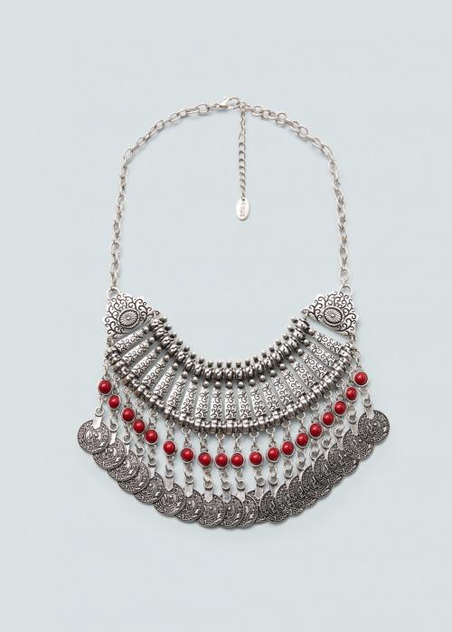 Mango collier trois rangs perles ethnqiues