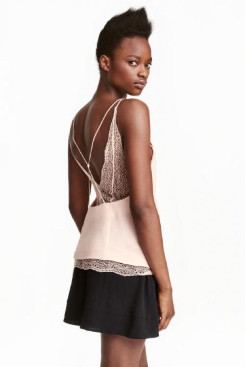 H&M top dentelle rose décolleté dos