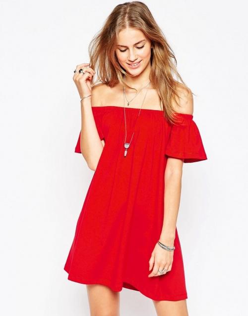 Asos robe rouge bardot