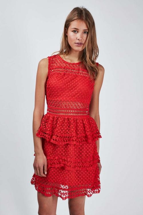 Topshop  robe rouge dentelle