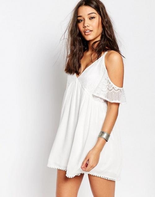 Miss Guided robe de plage blanche épaules dénudées