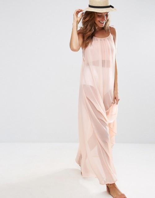 Asos robe de plage longue transparente rose pale