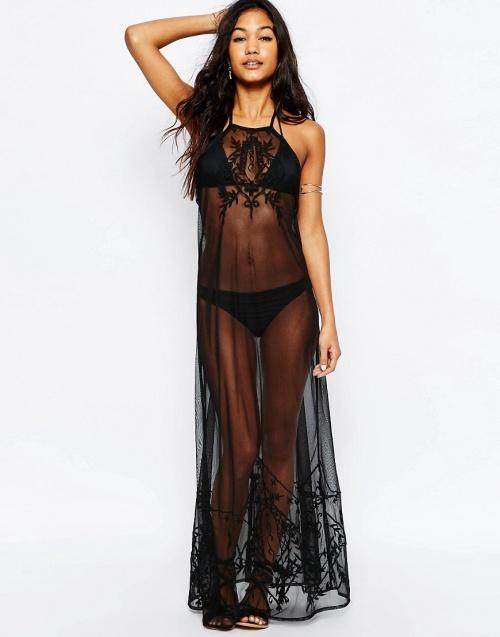 Asos  robe longue transparente noire