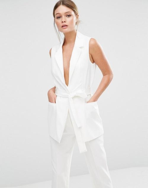 New Look blazer blanc sans manche