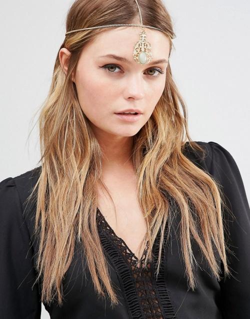 DesignB London headband pendentif avec pierre centrale