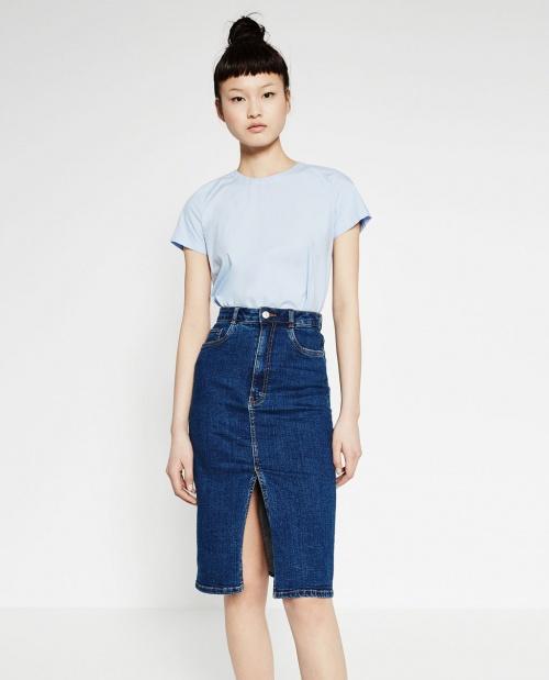 Zara jupe fourreau jean fendue