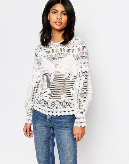 Warehouse blouse dentelle blanche