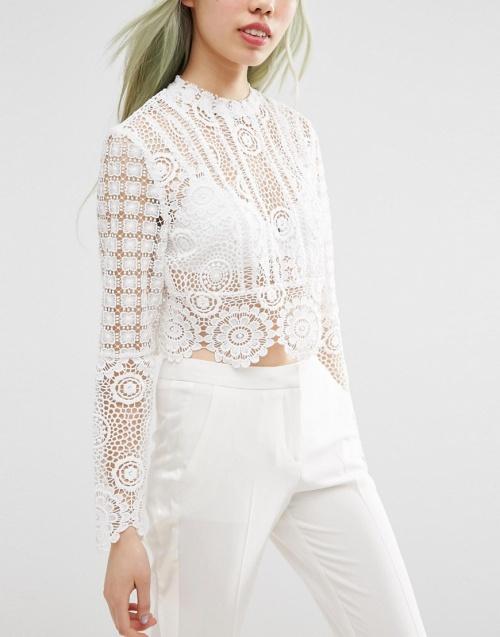 Asos premium top crochet blanc