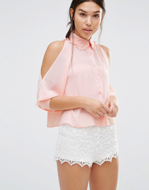 Boohoo cropped top chemise rose
