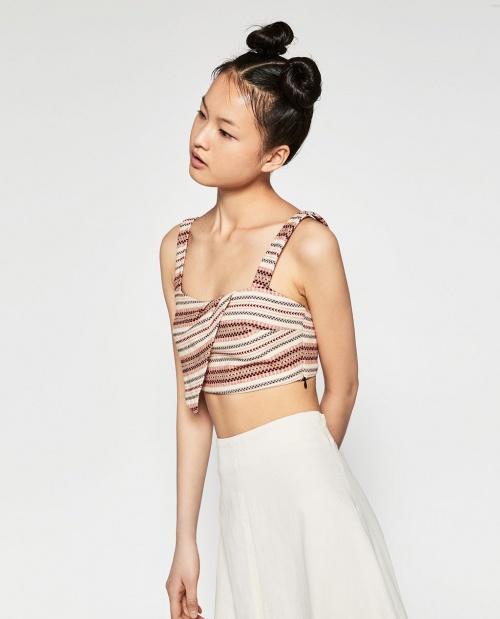 Zara cropped top maille asymétrique