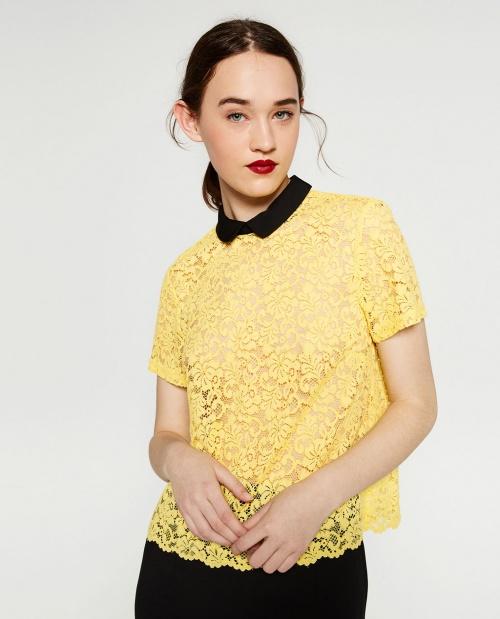 Zara chemisier jaune col claudine