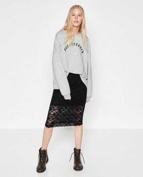 Zara jupe longue fourreau noire dentelle