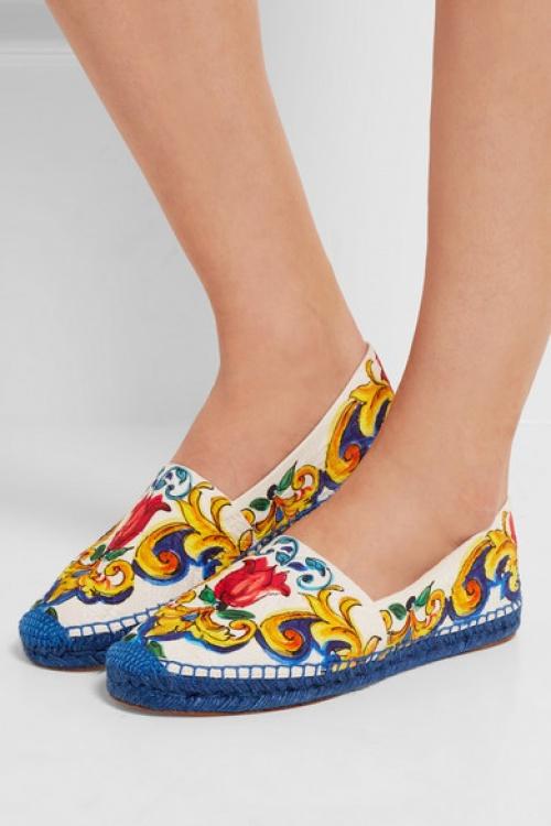 Dolce & Gabbana espadrilles colorés imprimé rococco