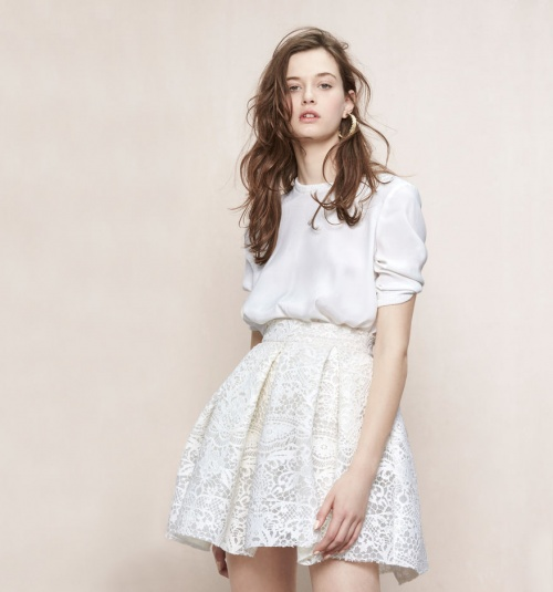 Maje jupe dentelle courte blanche