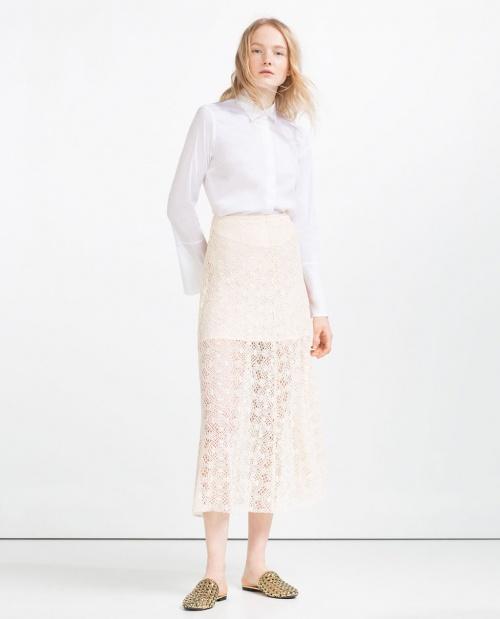 Zara jupe longue dentelle blanche