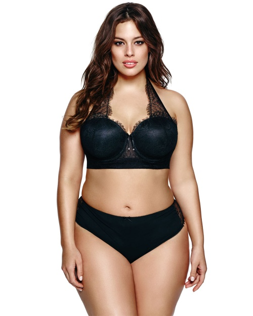 Ashley Graham  soutien-gorge noir bandeau