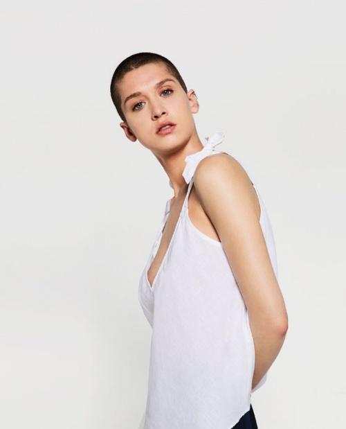 Zara top blanc bretelles à nouer