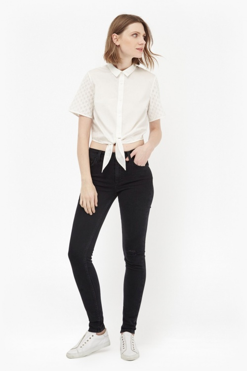 French Connection top chemise cropped top
