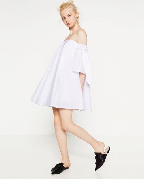 Zara - Robe blanche noeud épaules