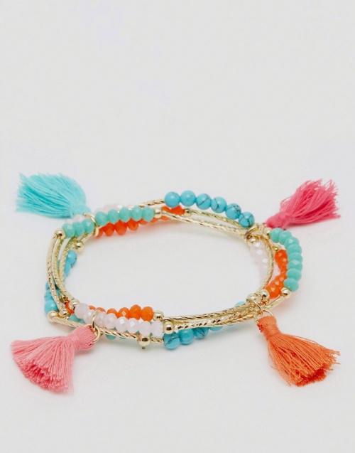 Asos - Bracelet perles et pompoms