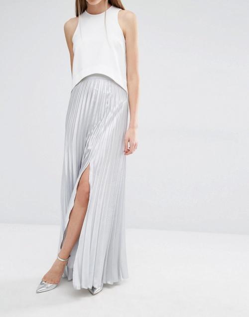 True Violet jupe longue métallisée argent plissée