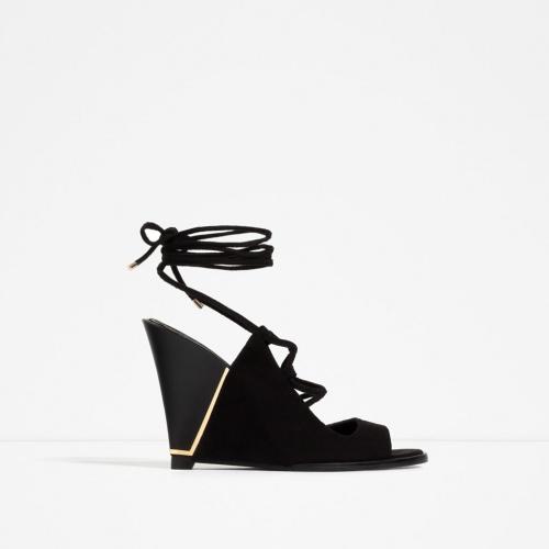 Zara sandales compensées noire velours or